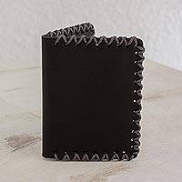 Leather wallet, 'Wild Panther' - Handcrafted Leather Bifold Wallet in Black from Guatemala