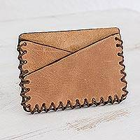 Leather card holder wallet, 'Subtle Form' - Handcrafted Slim Card Holder Wallet from Guatemala