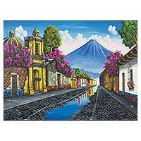 'Calle de los pasos' - Signed Naif Painting of a Guatemalan Town and Volcano