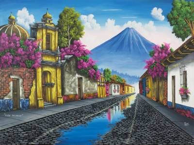 'Calle de los Pasos' - Signed Painting of a Guatemalan Town and Volcano