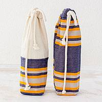 Cotton wine bags, 'Pleasant Day' (pair) - Two Handwoven Cotton Wine Bags in Indigo from Guatemala