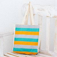 Cotton tote, 'Beach Afternoon' - Handwoven Striped Multicolored Cotton Tote from Guatemala