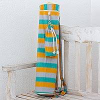Cotton yoga mat bag and bottle holder, 'Beach Afternoon' - Multicolor Yoga Mat Bag and Bottle Holder from Guatemala