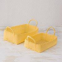 Recycled plastic baskets, 'Home Warmth in Buff' (pair) - Buff Recycled Plastic Baskets from Guatemala (Pair)