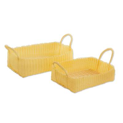 Buff Recycled Plastic Baskets from Guatemala (Pair)