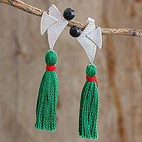 Jade dangle earrings, 'Beauty of Modernity' - Jade Silver and Cotton Dangle Earrings from Guatemala
