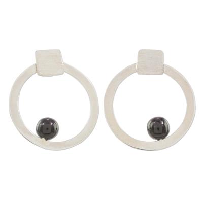 Modern Circular Jade and Silver Earrings from Guatemala