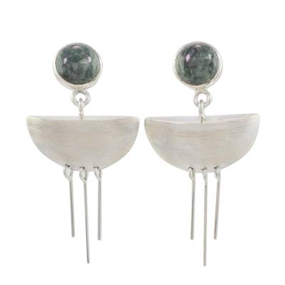 Jade and Sterling Silver Dangle Earrings form Guatemala