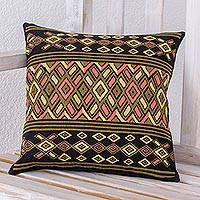 Cotton cushion cover, 'Dusk Geometry' - Handwoven Multicolored Cotton Pillow Case from Guatemala
