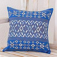 Cotton cushion cover, 'Horizon Geometry' - Handwoven Cotton Pillow Case in Blue from Guatemala
