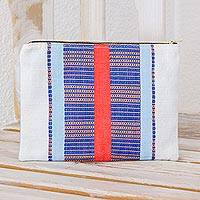 Cotton cosmetic bag, 'Beautiful Lines' - Handwoven Striped Cotton Cosmetic Bag from Guatemala