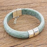 Jade bangle bracelet, 'Verdant Moon in Light Green' - Jade Bangle Bracelet in Light Green from Guatemala