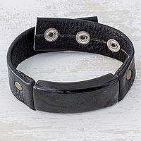 Men's jade wristband bracelet, 'Black Fortress' - Men's Jade and Leather Wristband Bracelet from Guatemala