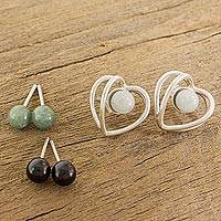 Jade button earring set, 'The Faces of Love' (3 pairs) - Heart-Shaped Modifiable Jade Button Earrings from Guatemala
