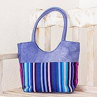 Cotton tote, 'Iris Enchantment' - Handwoven Striped Cotton Tote in Blue from Guatemala