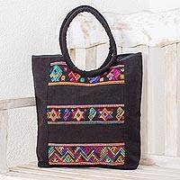 Cotton tote, 'Designs of the Past' - Handwoven Cotton Tote with Colorful Motifs from Guatemala