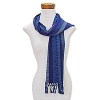 Cotton scarf, 'Marine Tones' - Handwoven Striped Cotton Wrap Scarf in Blue from Guatemala