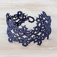 Wristband bracelet, 'Elegant Flowers in Navy' - Hand-Tatted Wristband Bracelet in Navy from Guatemala