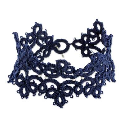 Hand-Tatted Wristband Bracelet in Navy from Guatemala