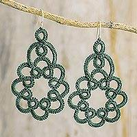 Dangle earrings, 'Beauty of the Forest' - Hand-Tatted Dangle Earrings in Viridian from Guatemala