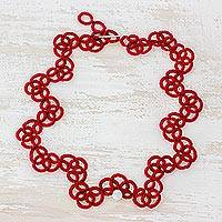 Jade pendant necklace, 'Cherry Love' - Hand-Tatted Jade Cord Necklace in Cherry from Guatemala