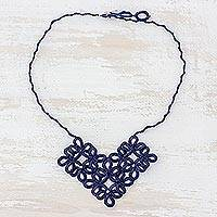 Pendant necklace, 'Entrancing Bouquet in Navy' - Hand-Tatted Floral Necklace in Navy from Guatemala