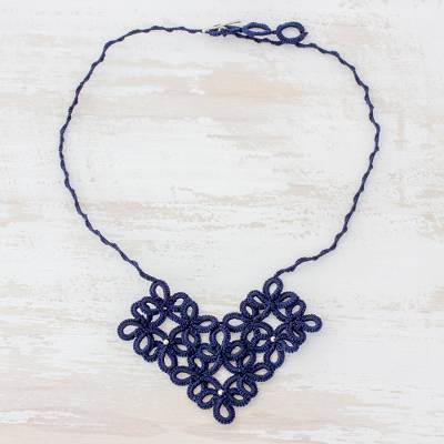 Pendant necklace, Entrancing Bouquet in Navy