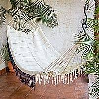 Cotton hammock, 'Pure Elegance' (single) - Handwoven Cotton Single Hammock in Champagne from Guatemala