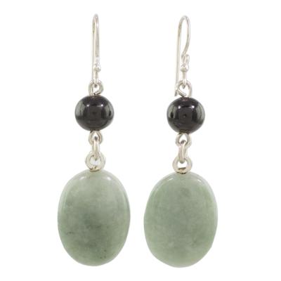 Black and Green Jade Dangle Earrings from Guatemala