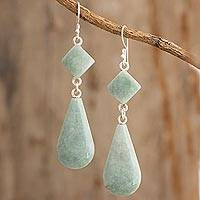 Jade dangle earrings, 'Apple Green Drops' - Light Green Jade Dangle Earrings Crafted in Guatemala