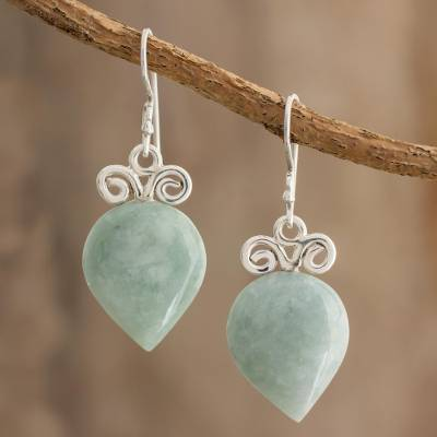 Jade dangle earrings, 'Skyward Drops' - Teardrop Jade Dangle Earrings Crafted in Guatemala