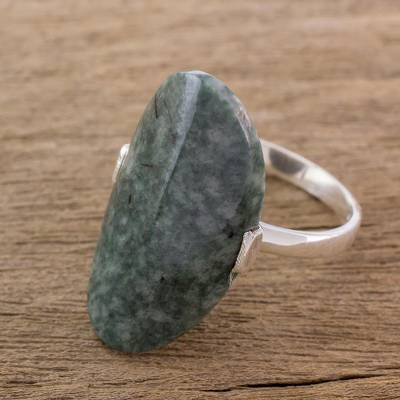 silver love heart ring tone - Dark Green Jade and Silver Cocktail Ring from Guatemala