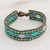 Glass beaded wristband bracelet, 'Cobbled Streets' - Glass Beaded Bracelet with Diamond Motifs from Guatemala