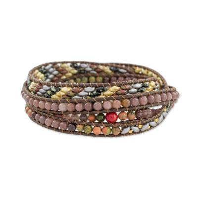 Colorful Glass Beaded Wrap Bracelet from Guatemala