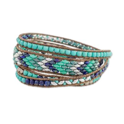 Glass Beaded Wrap Bracelet in Turquoise from Guatemala