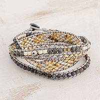Glass beaded wrap bracelet, 'Atitlan Elegance' - Glass Beaded Wrap Bracelet in Grey from Guatemala
