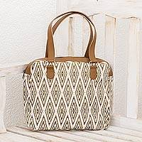 Leather accent cotton handbag, 'Diamond Style' - Handwoven Cotton Handbag with Diamond Motifs from Guatemala