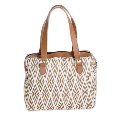 Handwoven Cotton Handbag with Diamond Motifs from Guatemala