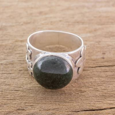 african silver rings - Floral Jade and Sterling Silver Cocktail Ring from Guatemala