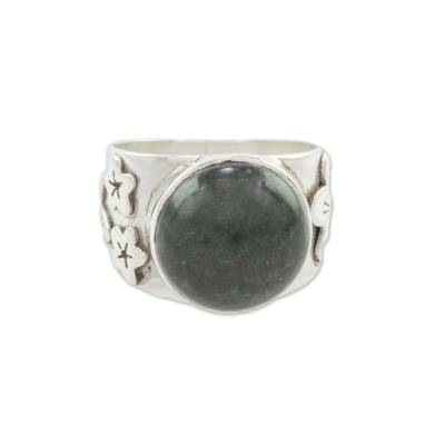 Floral Jade and Sterling Silver Cocktail Ring from Guatemala