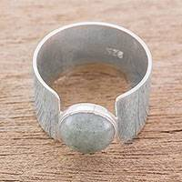 Jade cocktail ring, 'Magic Stone' - Modern Jade and Sterling Silver Cocktail Ring from Guatemala