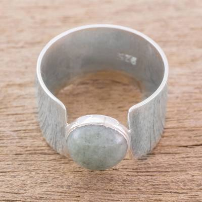 Modern Jade and Sterling Silver Cocktail Ring from Guatemala