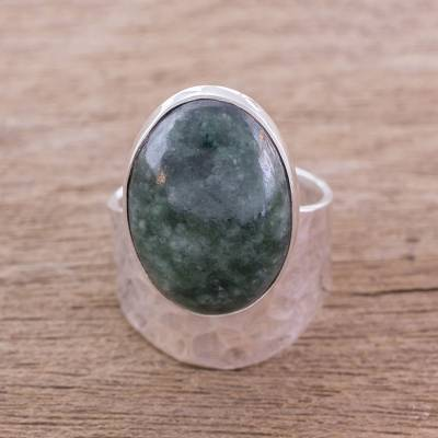silver ring test fork - Modern Dark Green Jade Cocktail Ring from Guatemala