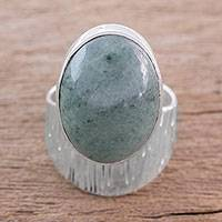 Jade cocktail ring, 'Rain of Stars' - Modern Light Green Jade Cocktail Ring from Guatemala