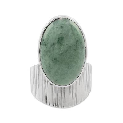 Modern Light Green Jade Cocktail Ring from Guatemala