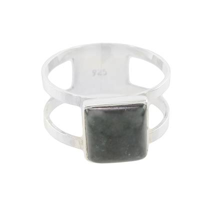 Square Dark Green Jade Cocktail Ring from Guatemala