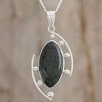 Jade pendant necklace, 'Fertile Maya' - Jade and Sterling Silver Pendant Necklace from Guatemala