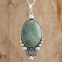 Jade pendant necklace, 'For Paola in Light Green' - Oval Jade Pendant Necklace in Light Green from Guatemala