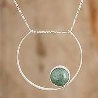 Jade pendant necklace, 'Mayan Cradle in Light Green' - Modern Light Green Jade Pendant Necklace from Guatemala