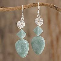 Jade dangle earrings, 'Bright and Noble' - Jade and Silver Spiral Dangle Earrings from Guatemala